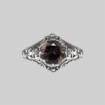 LOVE HURTS. Smokey Topaz Silver Ring – REGALROSE