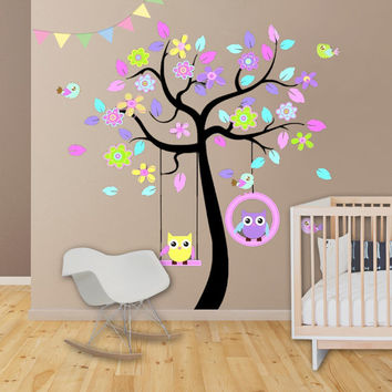 Large Kids Decor Kids Wall Decal Kids Wall Decor - Owl Tree Decal - Nursery Decor Kids Art Baby Girl Baby Gift Baby Shower Playroom Decor