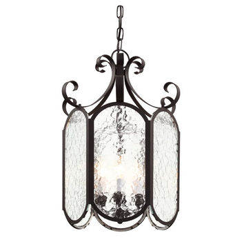 Trans Globe Lighting 40192 BK Black New Century Iced Glass 18-Inch Foyer Pendant with Clear Water Glass