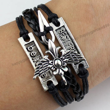 Gothic Winged Dagger Sword Cross Best Friend Bracelet Believe