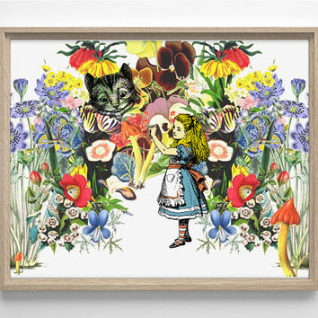 Alice In Wonderland, Flowers Illustration, Vintage Book, Childrens Storybook, Kids Room, Nursery Decor, College Dorm Room, Giclee Art Print