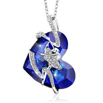 Bermuda Blue Dancer Heart Pendant Created with Swarovski® Crystals