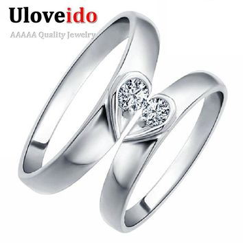 Heart Silver Color Anel Couple Commitment Ring Wedding Rings for Men and Women Costume Jewelry Rings Marriage Uloveido J207