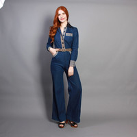 70s DENIM JUMPSUIT / Fitted Blue Jean Bell Bottom Coveralls, xs