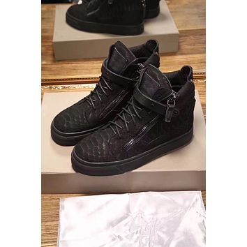 Giuseppe Zanotti Men's May London Leather Fashion High Top Sneakers Shoes