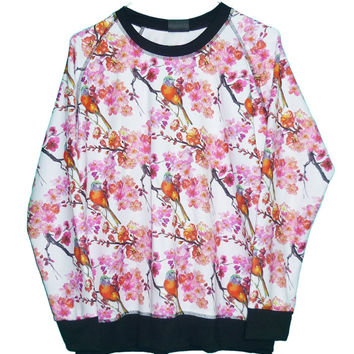 Cherry blossom shirt pink sweatshirt floral tee **bird printing ** women tops ** teen clothes ** sale clothing size M L one size