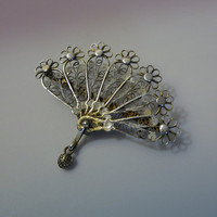 Silver Filigree Fan Brooch, Italy, 800 Hand Wrought Silver & Vermeil, Signed, Vintage, Post WWII, Peacock Feather Design, Romantic