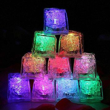 Multicolor Ice Cubes Light, Eruner Water Submersible Cube LED -36 Pack of Decorative LED Liquid Sensor Ice Cubes Shape Lights Glow Light Up for Bar Club Wedding Party Champagne Tower(36 Pack, Cube)