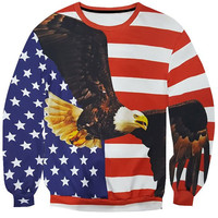 3D Star and Stripe Eagle Print Round Neck Long Sleeve  Sweatshirt