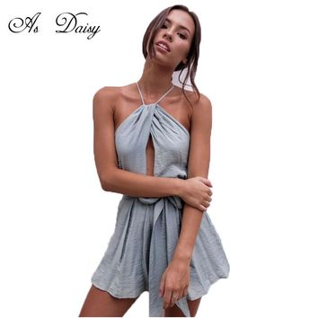 As Daisy Halter Backless Sexy Rompers Womens Jumpsuit Summer Casual Playsuit Beach Bodysuit Overalls For Women Macacao JP1741