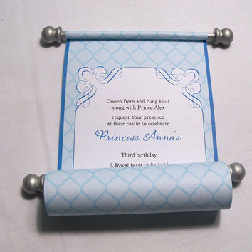 Princess Birthday Party Invitation Scroll in Turquoise and Silver, Honeycomb pattern