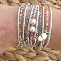 White Leather Wrap Bracelet with Pearls and Orange and White Beads.  M.S. Awareness Bracelet, UNIQUE gift,  Custom Wrap Bracelet