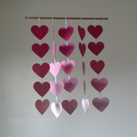 Pink ombre large Hearts hanging paper mobile! Baby Nursery mobile, Crib mobile. Boy/Girl/Teen/Tween mobile. Gift, Birthday