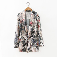 Women stylish floral blazer Notched long sleeve open stitch sashes coat pockets casual outerwear casaco feminine tops CT1311