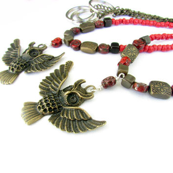 Owl Bead Curtain Tiebacks, Bronze Owl Tie Backs, Curtain Tiebacks, Red and Bronze Owl Tiebacks