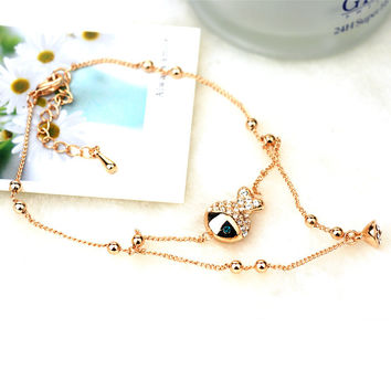 Sexy Stylish New Arrival Gift Shiny Ladies Cute Jewelry Apple Crystal Lovely Anklet [6048621697]