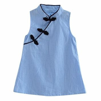 Chinese Style Baby Girls Dress Solid Color Vintage Cheongsam Kids Cotton Linen Sleeveless Dresses Party Costume Children Clothes