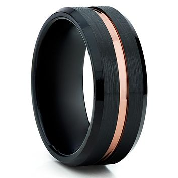 Black Tungsten Ring - Men's Black Ring - Black Tungsten Wedding Band - Rose