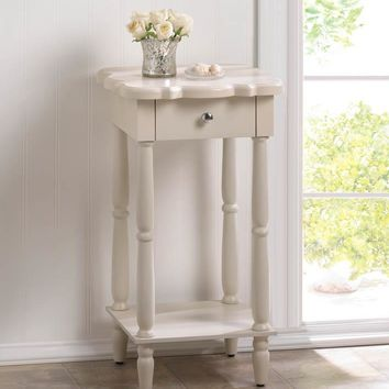 Scalloped Edge White Side Table