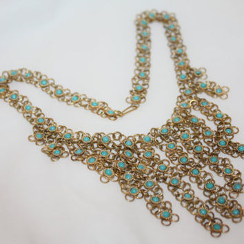Valentines Sales Vintage Fringe Necklace,  Boho Hippie Faux Turquoise Bib Necklace  1960s Jewelry