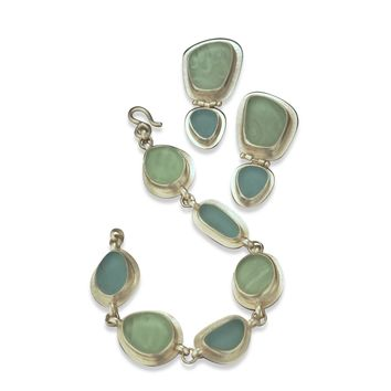 ALL NEW Inspired UPCYCLING By the Sea Vintage Glass Earrings and Bracelet