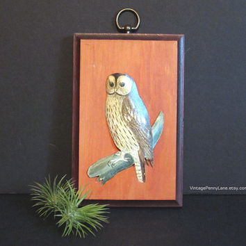 Vintage Wood Owl Plaque, Tole Painted Bird Wall Hanging, Handmade Woodcraft, Woodland Decor