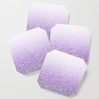 Gradient purple and white swirls doodles Coaster by savousepate