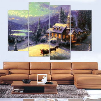 Unframed Snow Town Canvas Painting Oil Picture ArtWork Home Decor Unframed Canvas Art Wall Painting ( Include 5 Color) 4 Pieces
