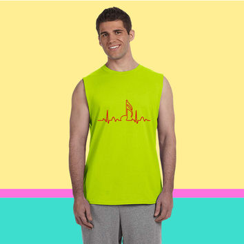 Lines of Heart, heart, pulse 1  16 note for musicians clock dancers clubb Sleeveless T-shirt