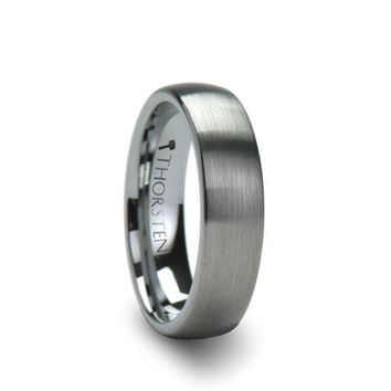 PERSEUS Brushed Finish Rounded Tungsten Carbide Ring 6mm