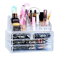 1Set Clear Make Up Box Drawers Cosmetic Organzier Jewelry Display Storage Cabinet (Color: Transparent) [8295439175]