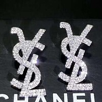 YSL S925 Silver Needle Classic Stylish Women Letter Full Diamond Earrings Accessories Jewelry Silvery
