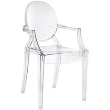 Clear - Modern Contemporary Louis XIV Dining Chair Armchair Ghost Style Ghost Chair with Arms Ghost Arm Chair Clear Transparent - Sears
