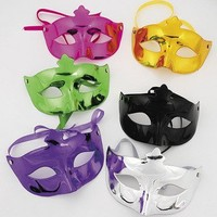 Dozen Assorted Plastic Metallic Mardi Gras Masks