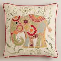 Festive Elephant Embroidered Throw Pillow