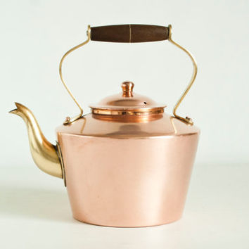 Vintage Tagus Copper Kettle, Solid Copper Brass Stovetop Teapot Tea Kettle Wood Handle, Made in Portugal, R 94