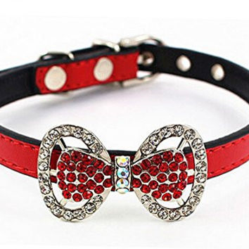 Adjustable Pet Dog Cat Leather Buckle Collar Bling Gem Diamond Rhinestone Bow Style S,Red