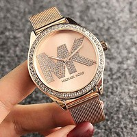 MK MICHAEL KORS Stylish Women Men Chic Diamond Quartz Watch Movement Wristwatch