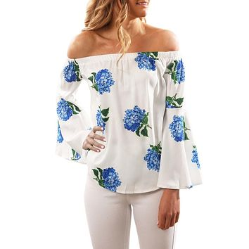 Long Sleeve Off Shoulder Floral Printed Blouse Casual Tops