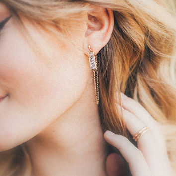 Druzy Bar Chain Studs ,  Dangle Post Earrings in 14k Gold Fill or Sterling Silver , 3 Color Choices , Modern Fashion
