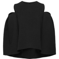 Wool Cloque Open Shoulder Top