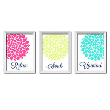 Relax Soak Unwind - Colorful Pink Lime Turquoise - Flourish Flower Artwork Set of 3 Bathroom Prints Wall Decor Art Picture Match