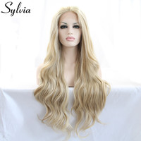 Natural look vintage blonde wig long loose wave wigs Brazilian hair synthetic lace front wig heat resistant Synthetic Hair