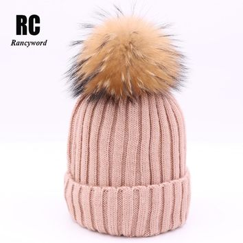 [Rancyword] New Real Raccoon Fur Hat Knitted Fur Ball Beanies Thick Female Cap Bright wire Winter Warm Hats For Women RC1215