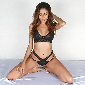 Women Temptation Hollow Bandage Perspective Gauze Lace Underwear Lingerie Set