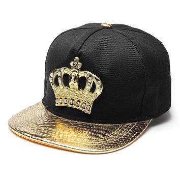 Mens Womens Snapback Hat KING Crown Baseball Caps Adjustable Hip Hop Hats Black Summer