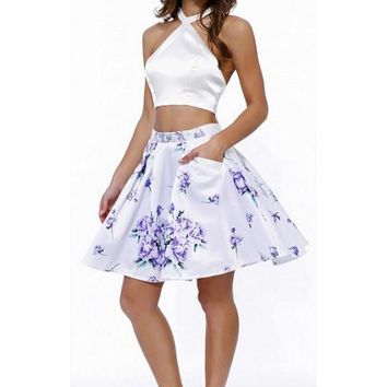 Short Prom Cocktail Two Pieces Dress