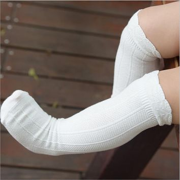 aacba7a2618 Toddler Socks Baby Knee High Sock Solid Color Children Black Whi