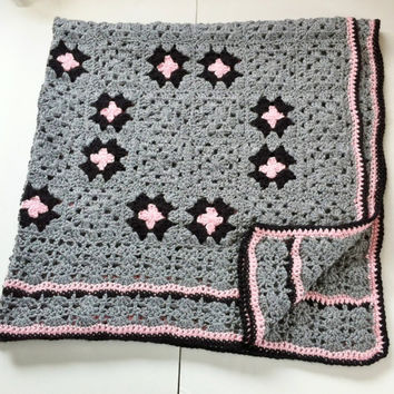 Pink and Gray Afghan , Crochet Granny Square Blanket Couch Throw , Infinity Circles and Stars , Knit Afghan , Gift For Women