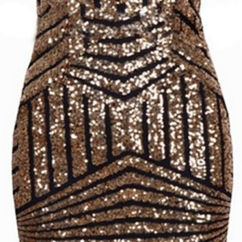 Black Brown Gold Geometric Sequin Plunge V Neck Strapless Bodycon Mini Dress